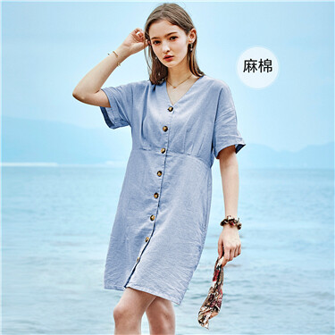 Linen-cotton v-neck dress