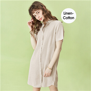 Linen-cotton short-sleeve dress