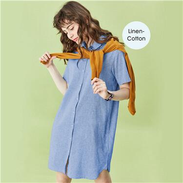 Linen-cotton short-sleeve dress