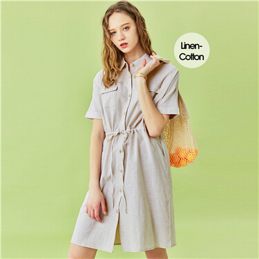 Linen-cotton cargo dress