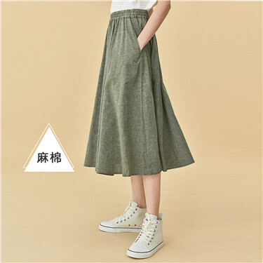 Linen cotton elastic waistband skirt