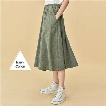Linen cotton elastic waistband skirt