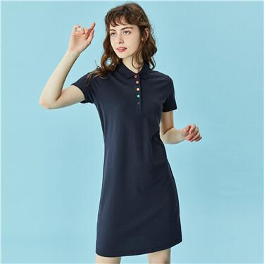 Stretchy rainbow button slim polo dress