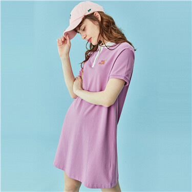 Stretchy loose embroidery polo dress