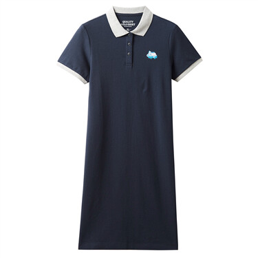 Embroidery contrast stretchy polo dress