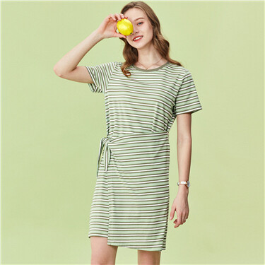 Stripe short-sleeve wrap dress