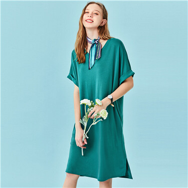 Modal loose v-neck short-sleeve dress