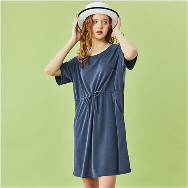 Modal drawstring at waist short-sleeve dress