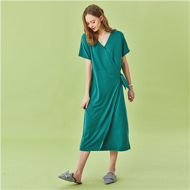 Modal short-sleeve wrap dress