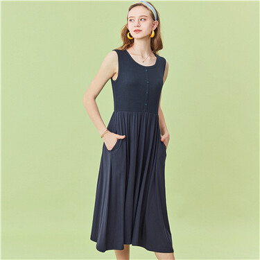 Modal waffle sleeveless dress