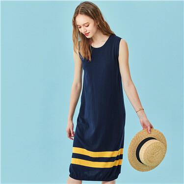 Contrast sleeveless knitted dr