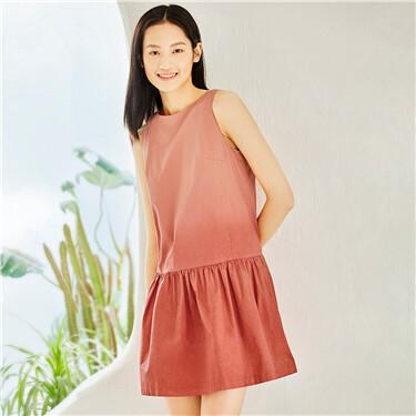 Gradual color bow sleeveless pleated dress