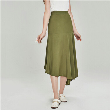Pleated asymmetrical design skirt