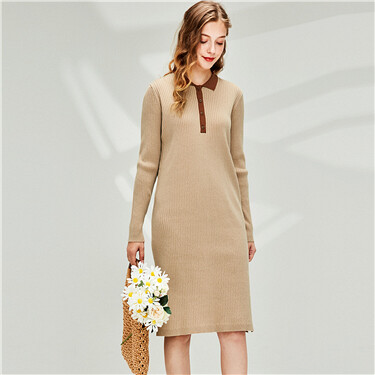 Contrast Knitted Long Sleeve Polo Dress