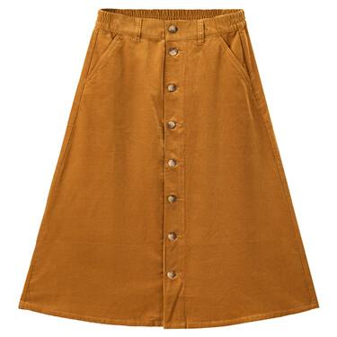 灯芯绒纯棉单排扣半松紧腰半身裙