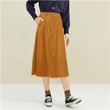 Corduroy half elastic  waistband skirt