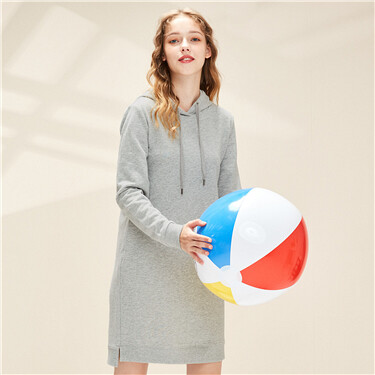 Hooded with drawstring long-sleeve dress