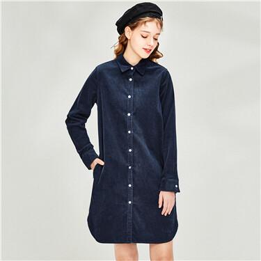 Cotton corduroy shirt dress