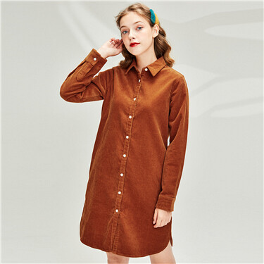 Cotton corduroy shirt dress