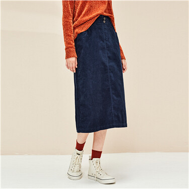 Corduroy cotton mid-long skirt