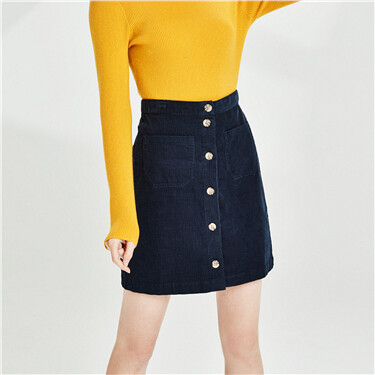 Corduroy Cotton Buttons Skirts