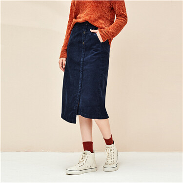 Corduroy Asymmetrical Mid Long Skirt