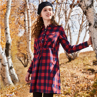 Flannel cotton banded-waist shirt dress