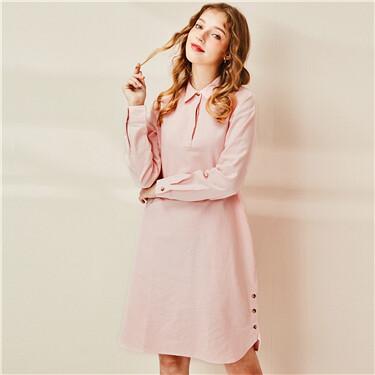 女裝法蘭絨長袖恤衫連衣裙