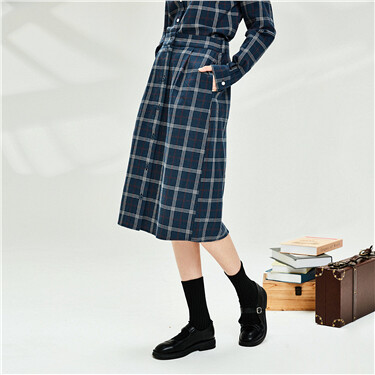 Flannel cotton plaid buttons skirt