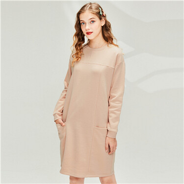 Collage fleece-lined o-neck dress