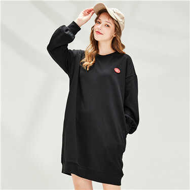 Badge Dropped-shoulder Crew Neck Dress