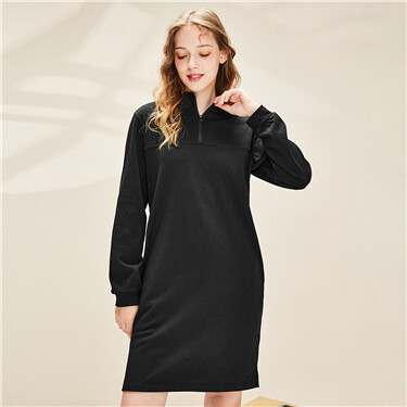 Mockneck half placket dress