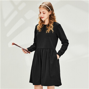 A-line hem o-neck dress