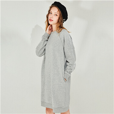 Printed Horn Sleeves Crew Neck Dress