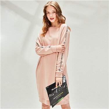 Printed horn sleeves o-neck dress