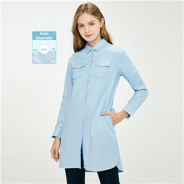 Double Patch Pockets Oxford Shirt Dress