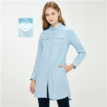 Double patch pockets oxford shirt dress