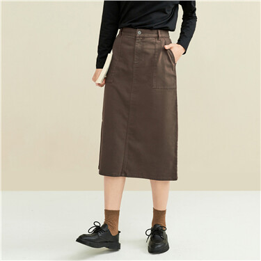 Patch pockets half elastic waist skirt