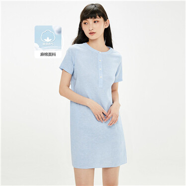 Linen-cotton crewneck half placket dress