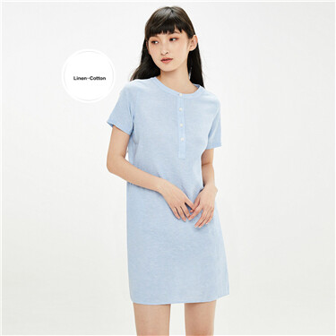 Linen-cotton crewneck half placket dress