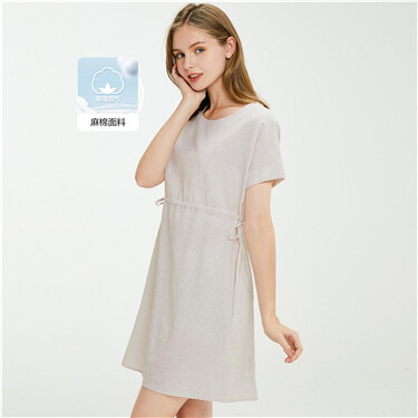 Linen-cotton bandage waist dress