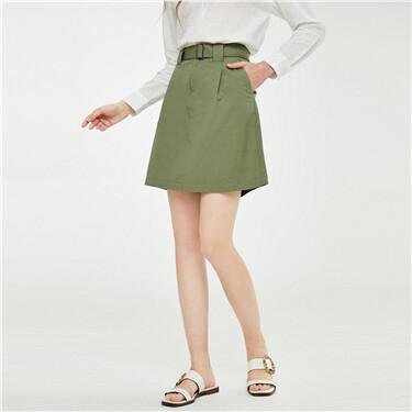 A-line high-rise belt skirt