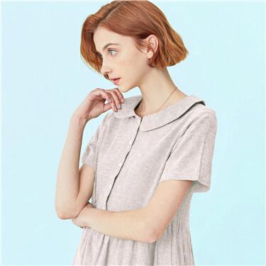 Linen-cotton doll collar dress