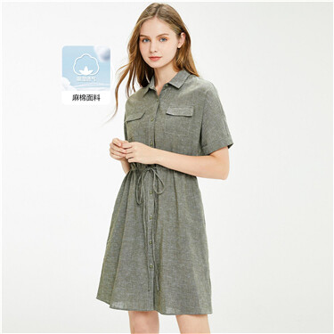 Linen-cotton cargo pockets bandage dress