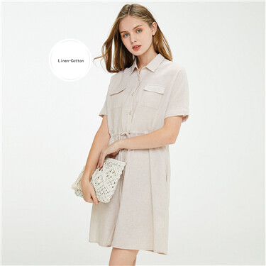 Linen-cotton cargo pockets bandage dress
