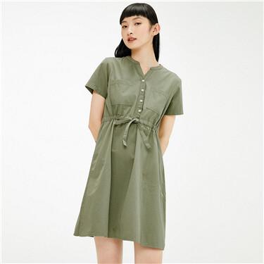 V-neck half placket banded waist dress