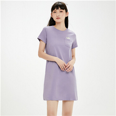 Embroidery pocket crewneck dress