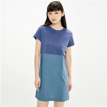 Needle woven crewneck joint dress