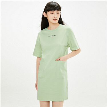 Printed letter loose crewneck dress