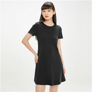 Fishtail hem crewneck short-sleeve dress